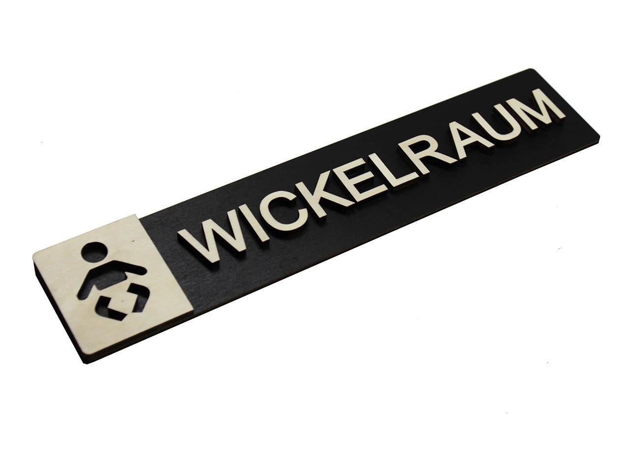 "Holz-Türschild ""Wickelraum"""