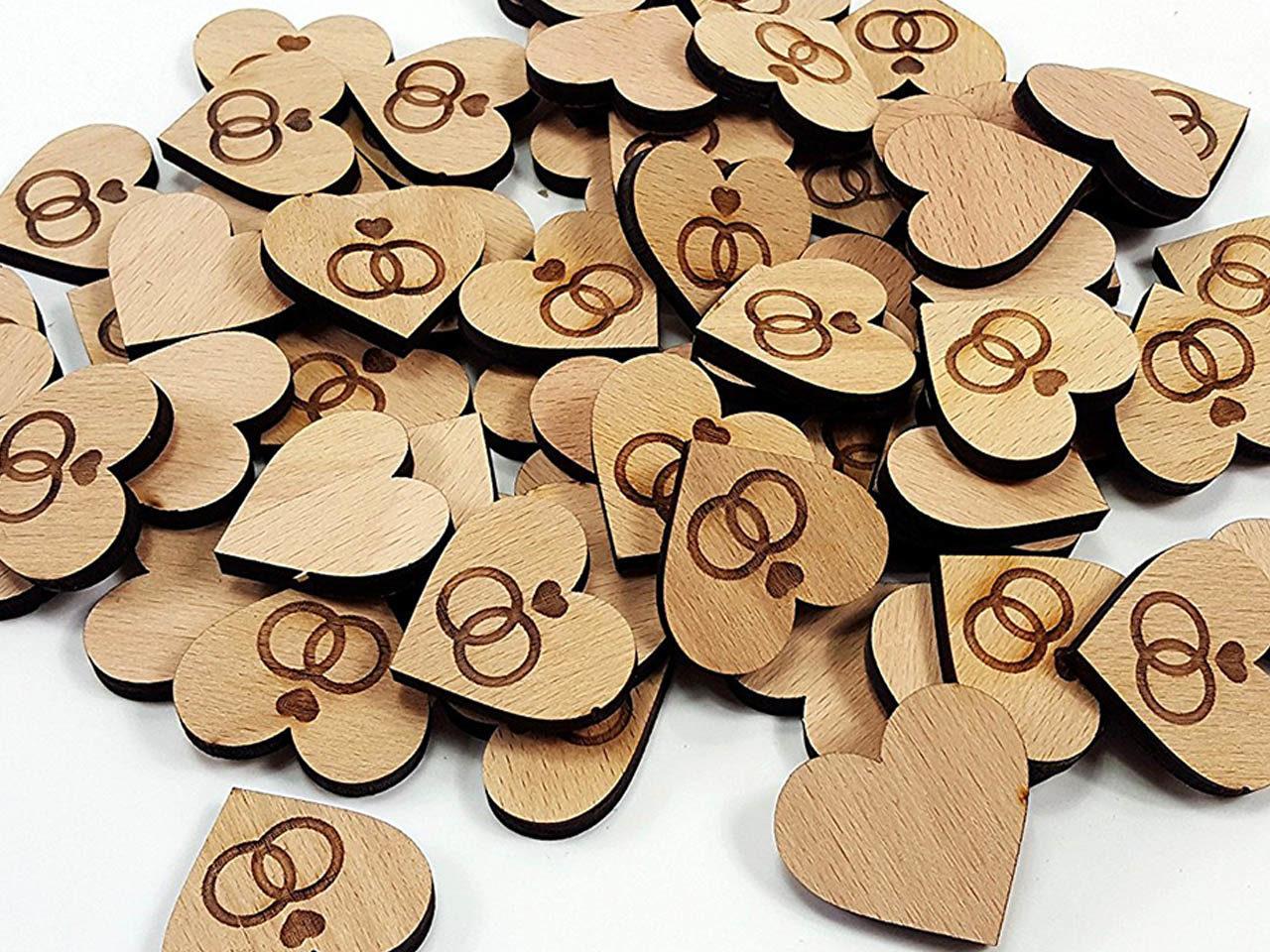 Herz-Streudeko aus Holz mit Wunschsymbol 60 Stück – Personalisiert