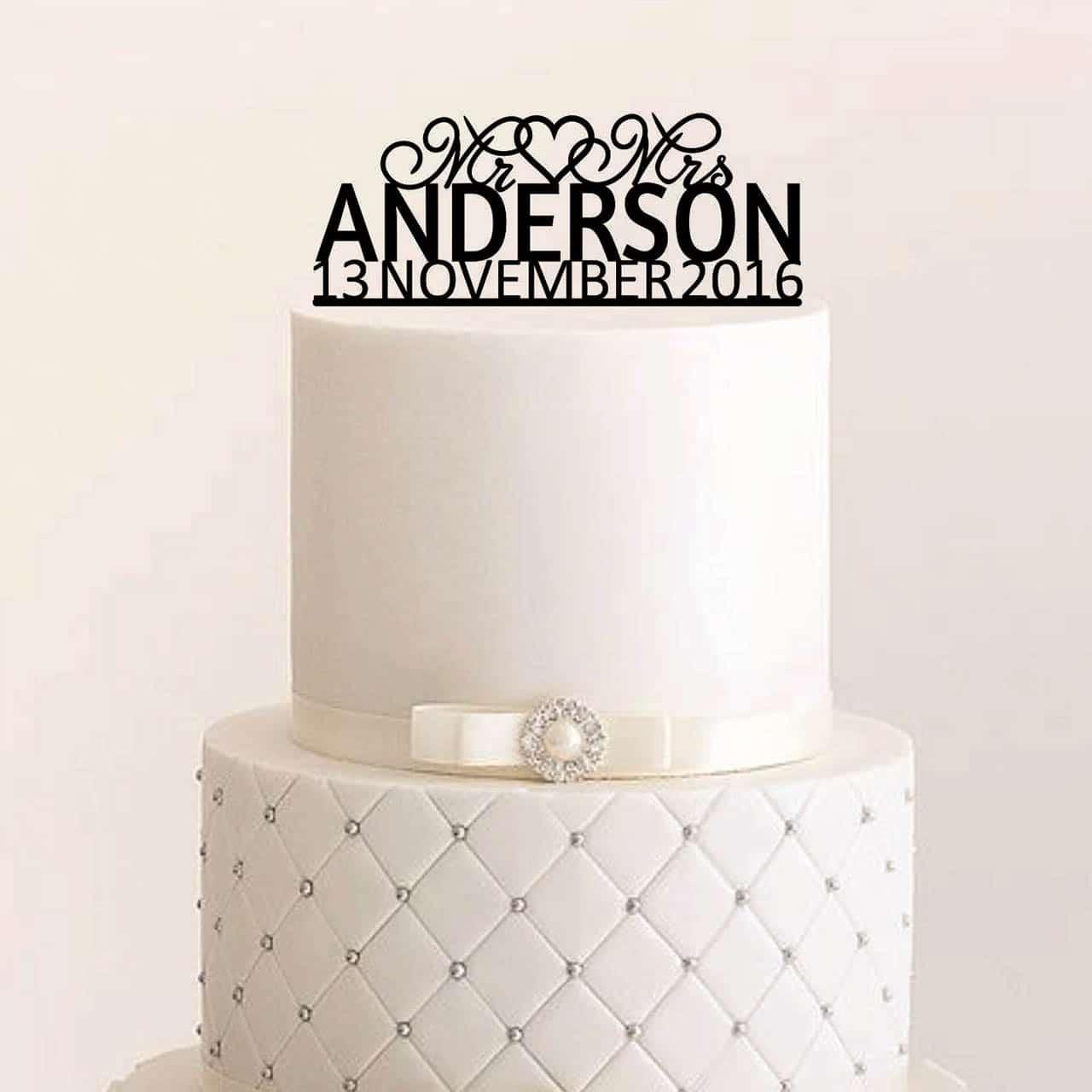 Cake Topper Mr Mrs Mit Herz Geschwungen Personalisiert