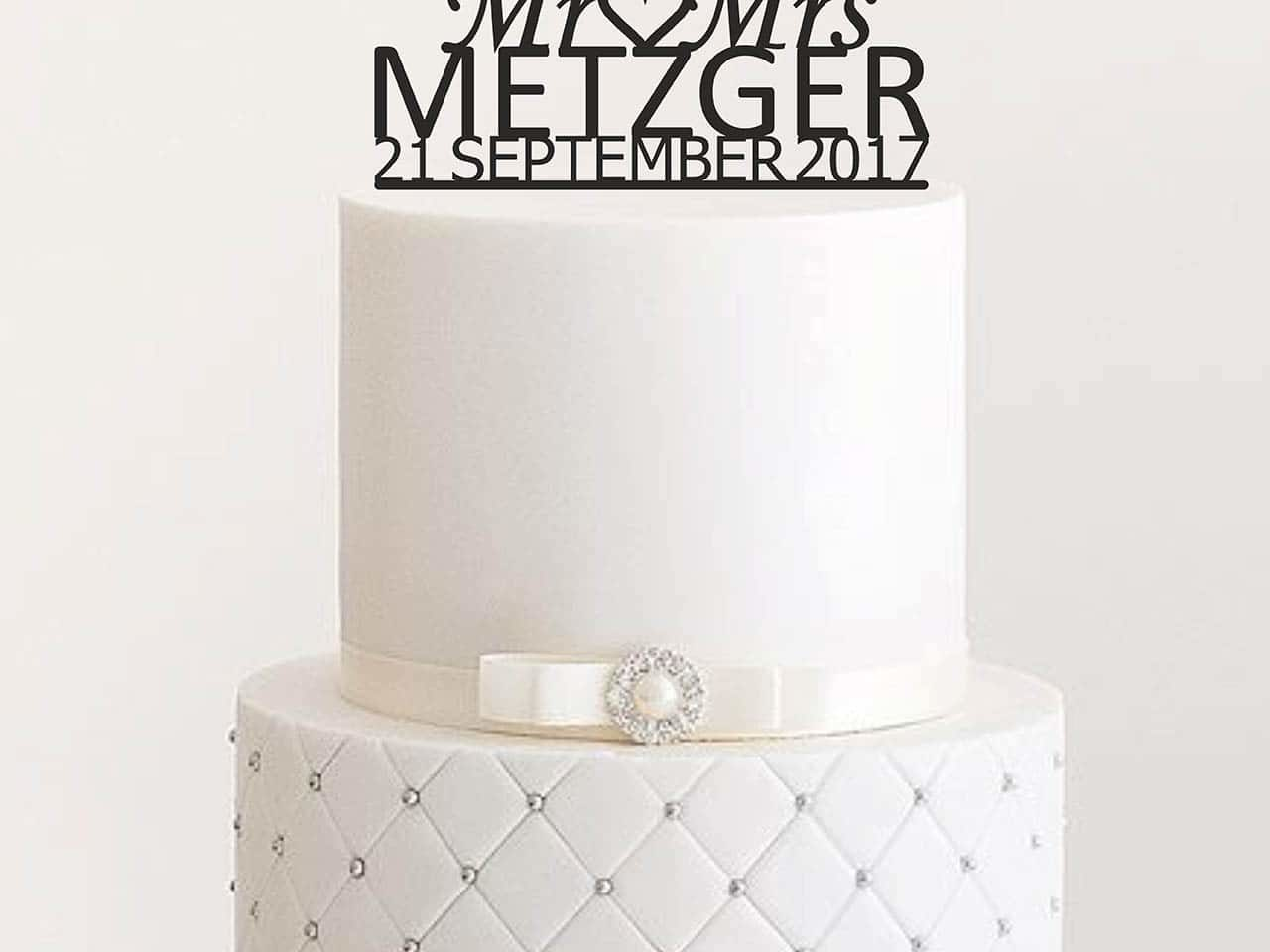 """Cake Topper """"Mr & Mrs mit Herz"""" - Personalisiert"""