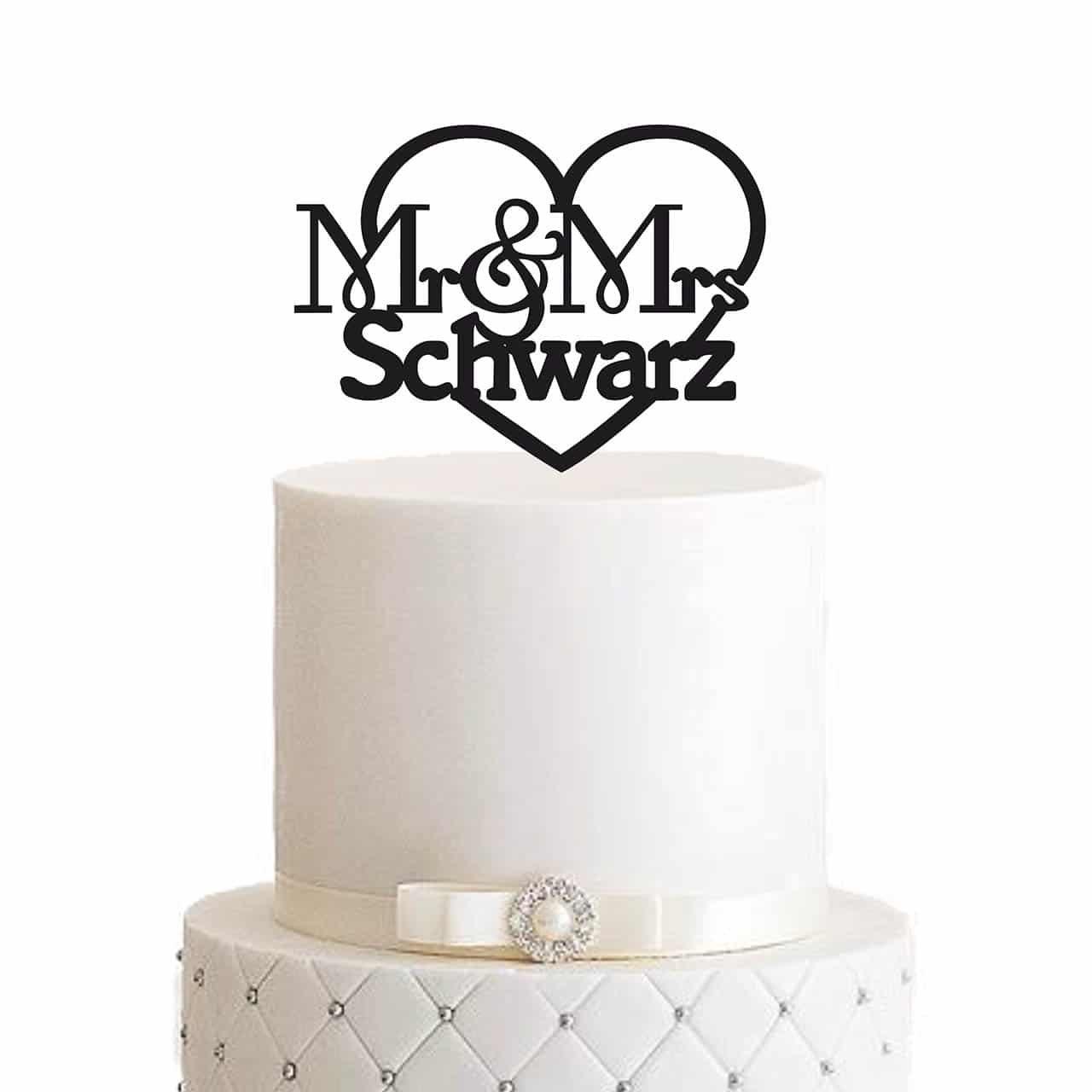"""Cake Topper """"Mr & Mrs. mit Nachnamen und Herz"""" – Personalisiert"""