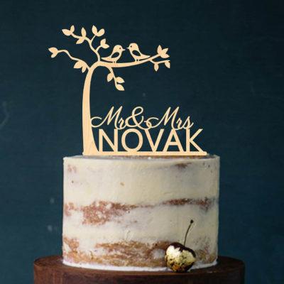 """Cake Topper """"Mr & Mrs mit Baum"""" - Personalisiert"""