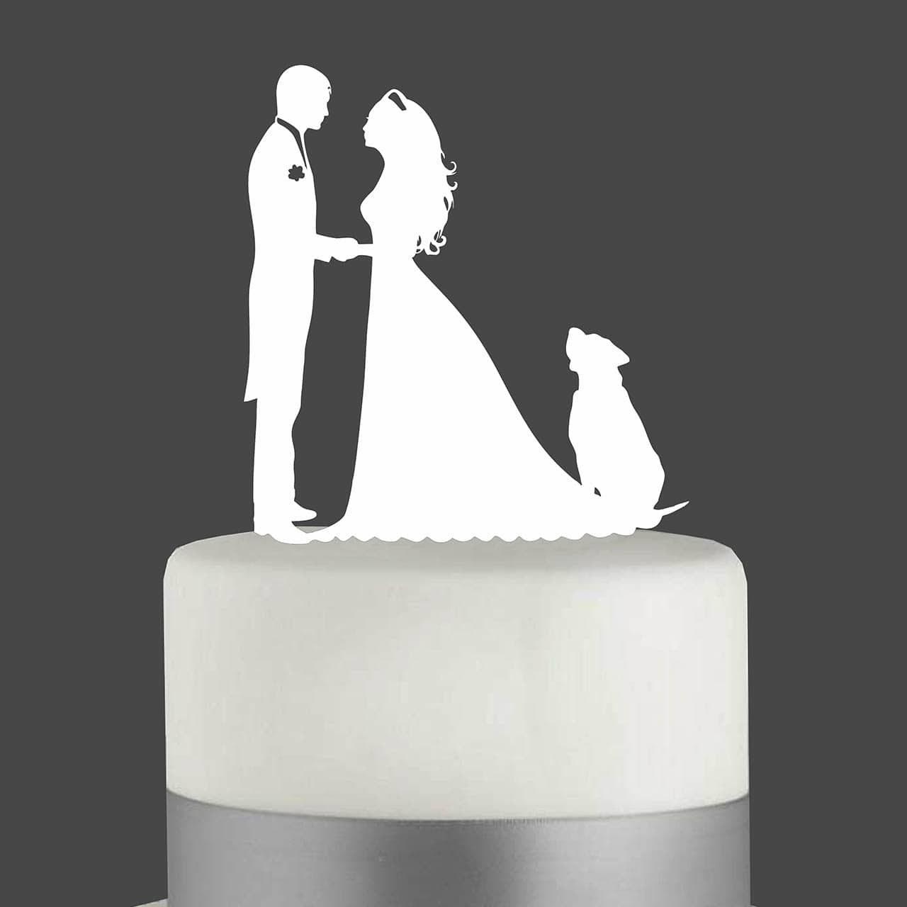 """Cake Topper """"Ehepaar mit Hund"""""""