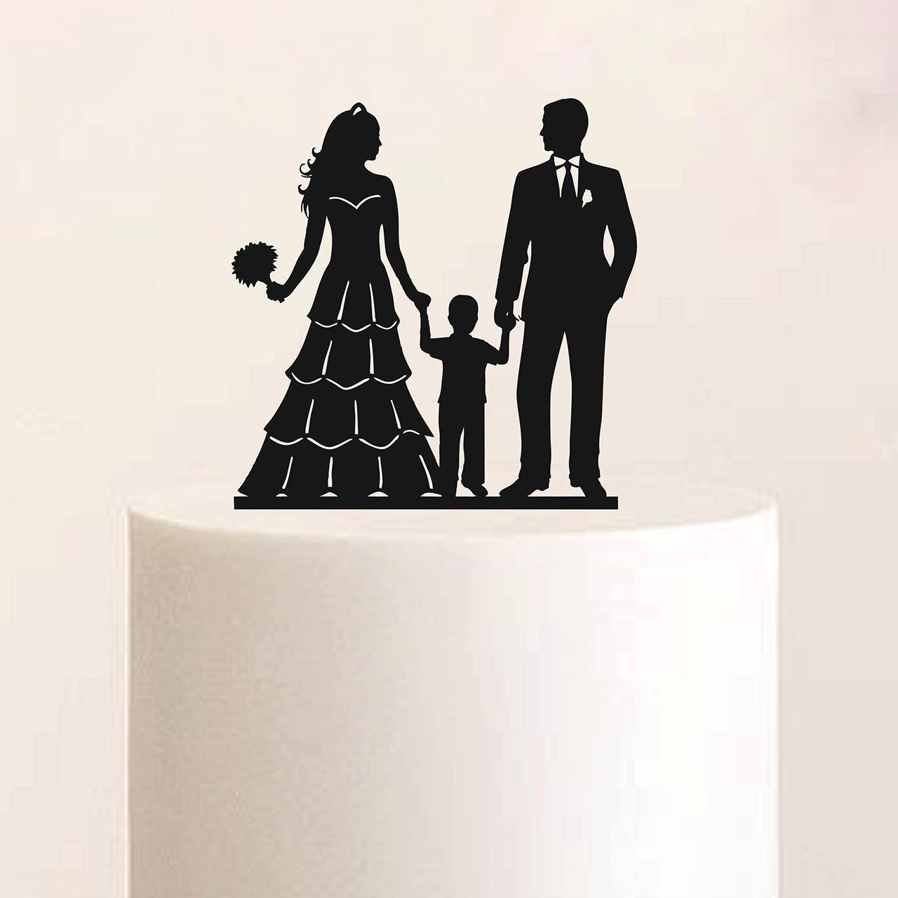 """Cake Topper """"Ehepaar mit Jungen"""""""