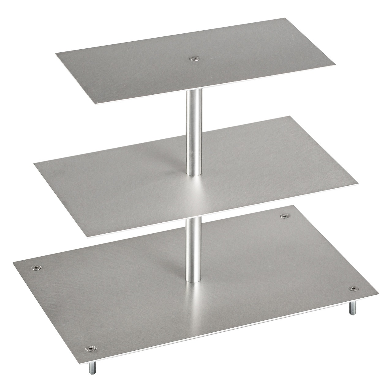 Tortenetagere, Aluminium, Rechteckig, 3-stöckig
