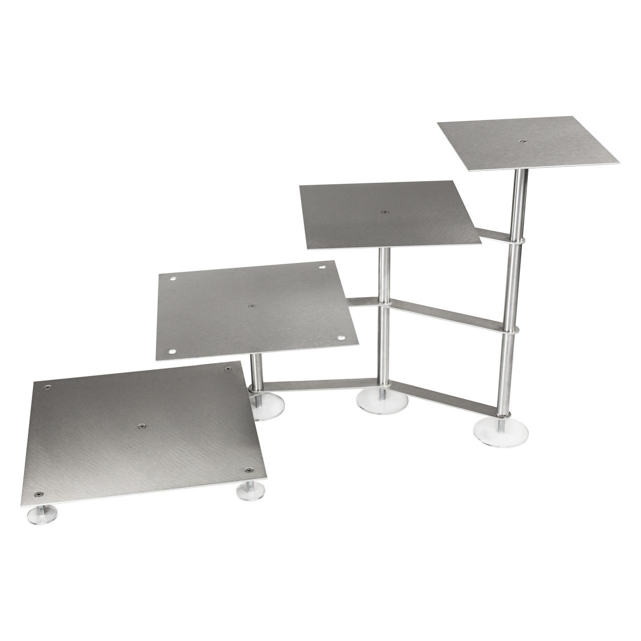 Treppenetagere, Aluminium, Eckig, 4-stöckig