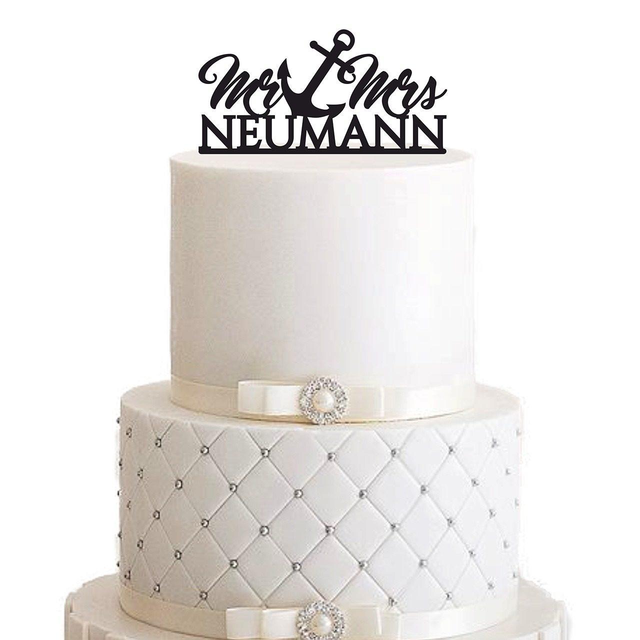 "Cake Topper ""Mr Anker Mrs Nachname"" - Personalisiert"