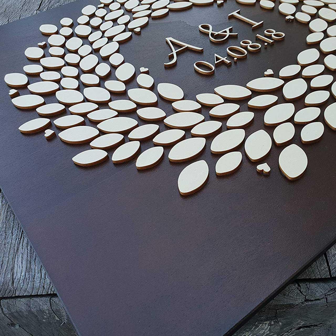 """3D Hochzeitsgästebuch """"Baum"""" (Nussbaum) – Personalisiert"""
