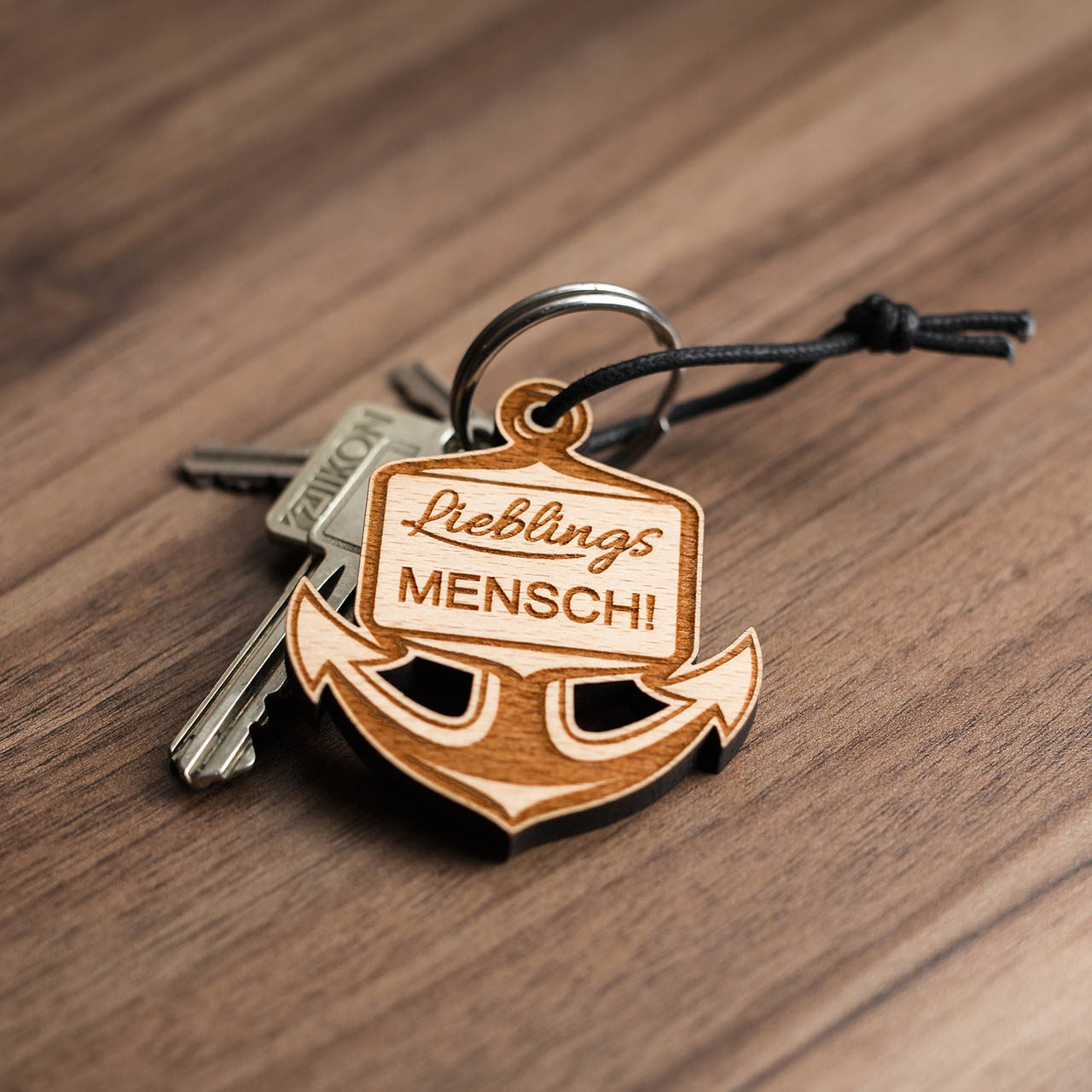 Holz-Schlüsselanhänger Anker - Lieblingsmensch