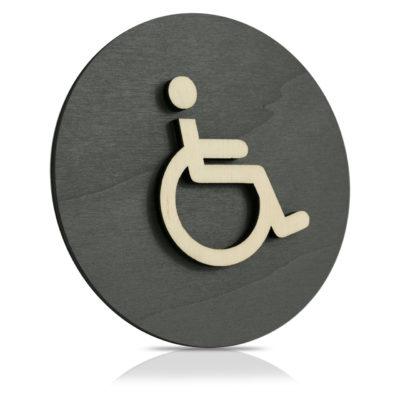 """Rundes Holz-Türschild (anthrazit) """"Behinderten WC"""""""