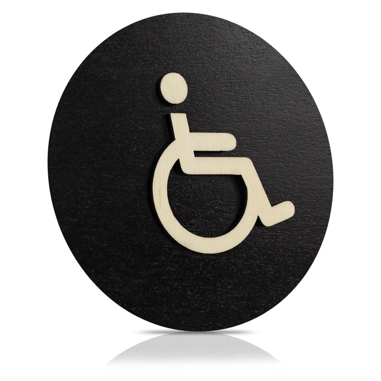 """Rundes Holz-Türschild (schwarz) """"Behinderten WC"""""""