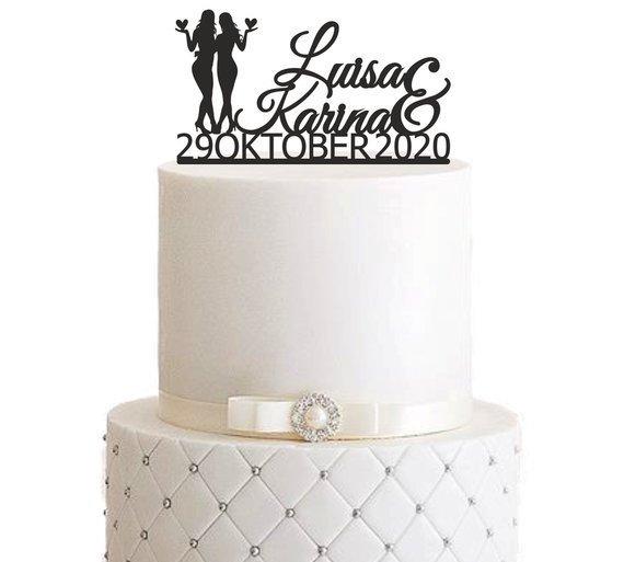 "Cake Topper ""Ehefrau & Ehefrau mit Datum"""