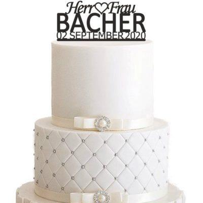 """Cake Topper """"Herr & Frau Nachname mit Datum"""""""