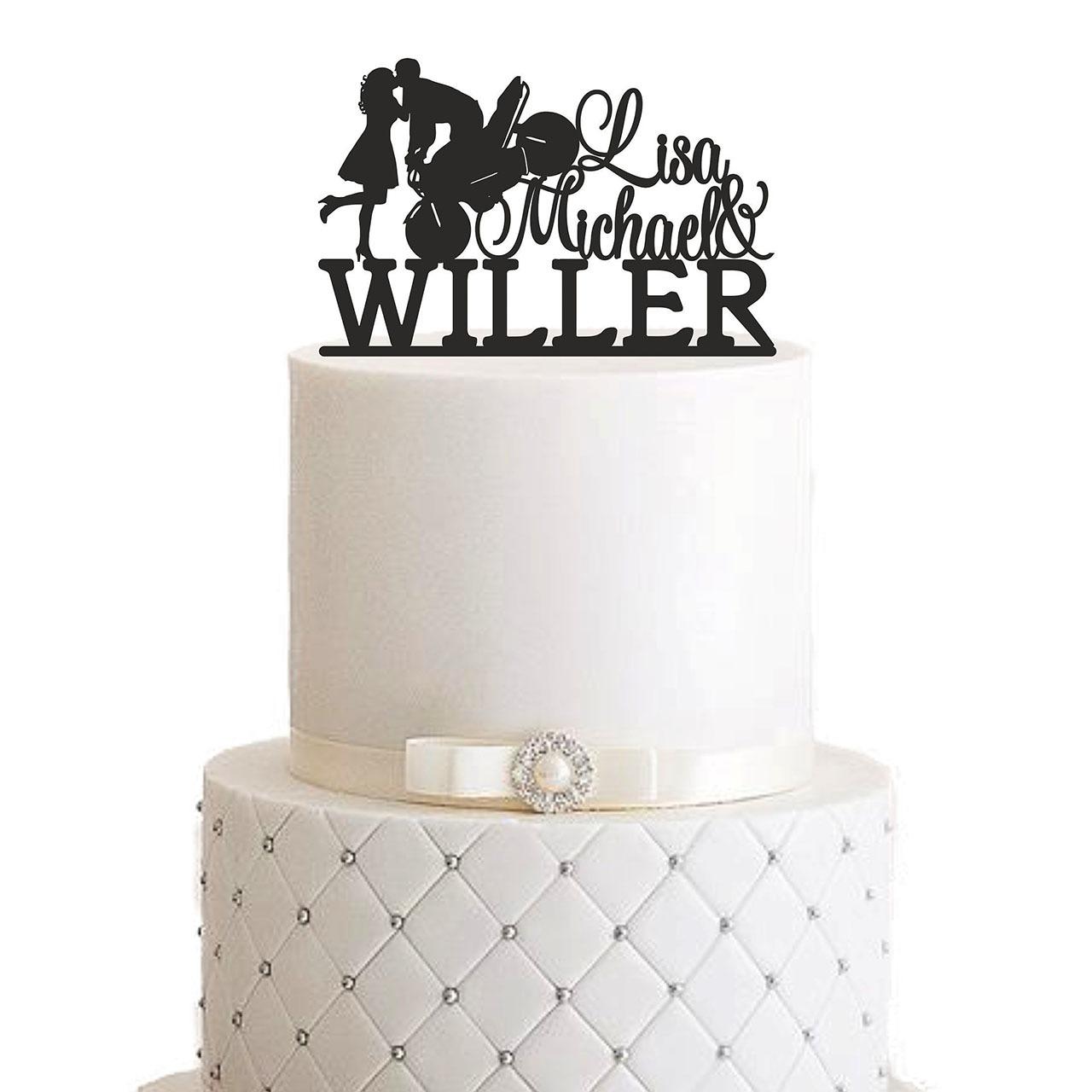 """Cake Topper """"Motorrad Brautpaar mit Vornamen und Nachname"""""""