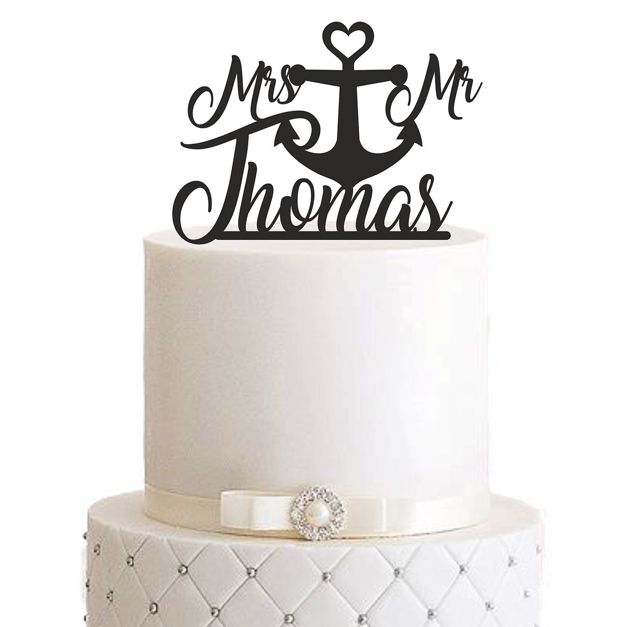 "Cake Topper ""Mr & Mrs mit Anker"" – Personalisiert"