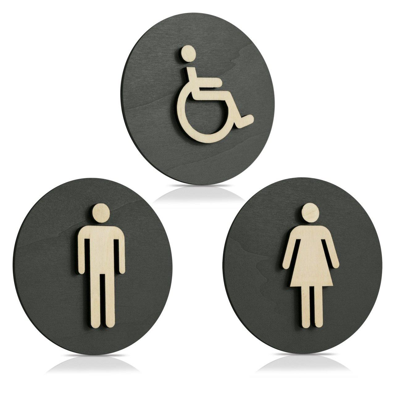 """Holz Türschilder (anthrazit) """"Mann, Frau und Behinderten-WC"""""""
