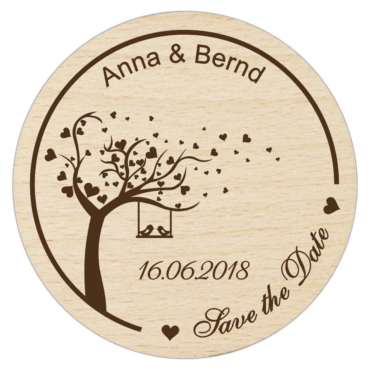 """Holz-Magnet """"Save The Date mit Liebesbaum"""" - Personalisiert"""