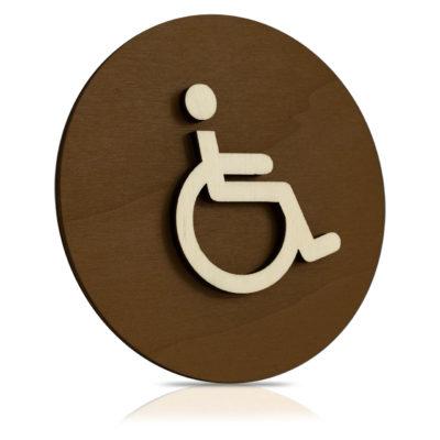"""Rundes Holz-Türschild (Schokobraun) """"Behinderten WC"""""""