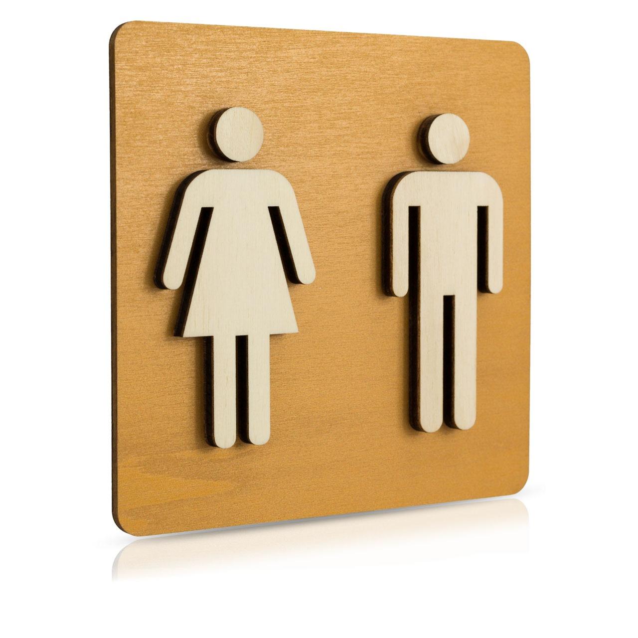 """Holz-Türschild Piktogramm (Nussbaum Hell) """"Frau und Mann"""""""