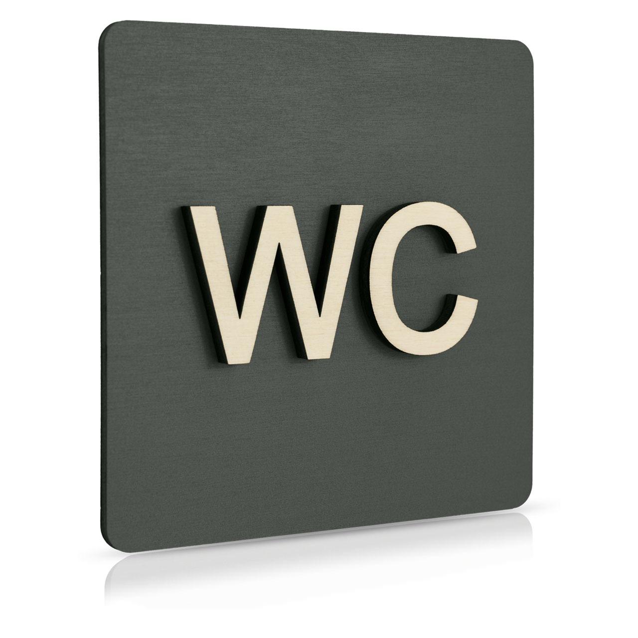 """Holz-Türschild (anthrazit) """"WC"""""""