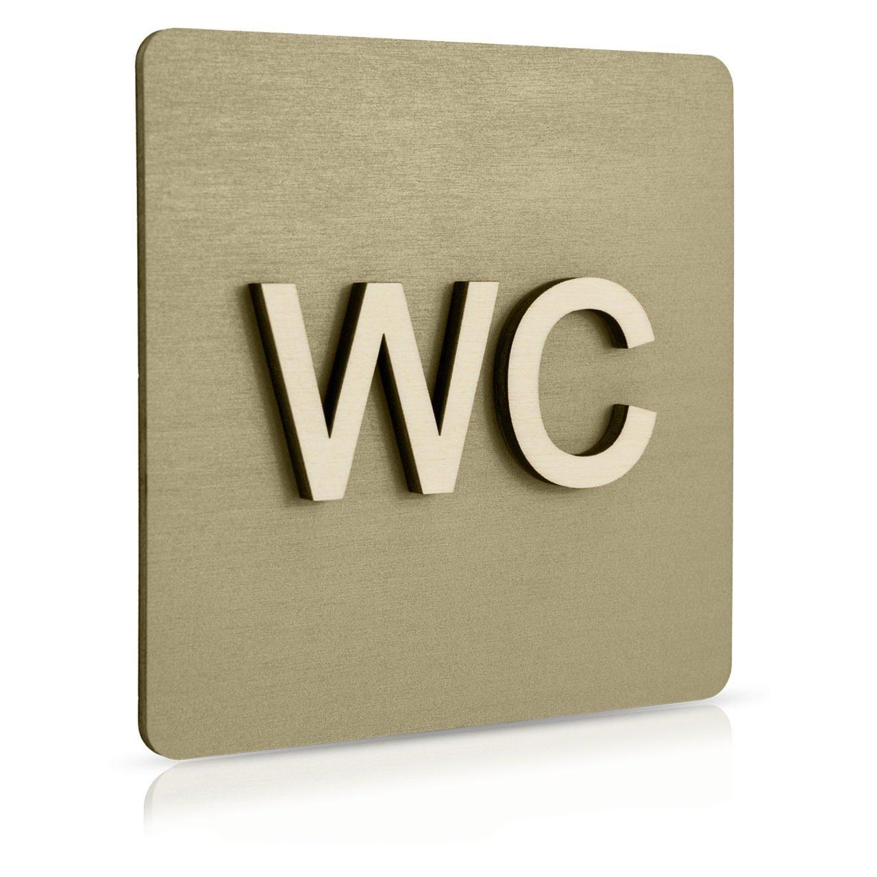 "Holz-Türschild (moosgrau) ""WC"""