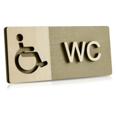 "Holz-Türschild (Moosgrau) ""Behinderten-WC"""