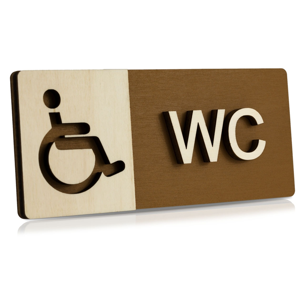 """Holz-Türschild (Nussbaum dunkel) """"Behinderten-WC"""""""