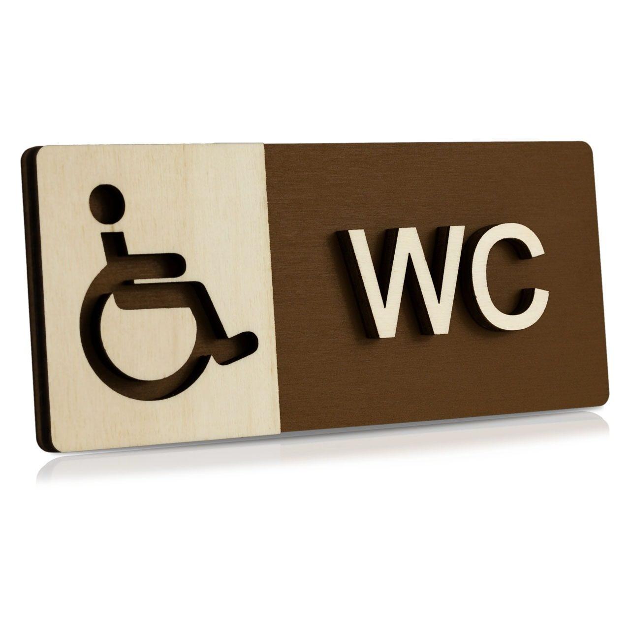 "Holz-Türschild (Schokobraun) ""Behinderten-WC"""