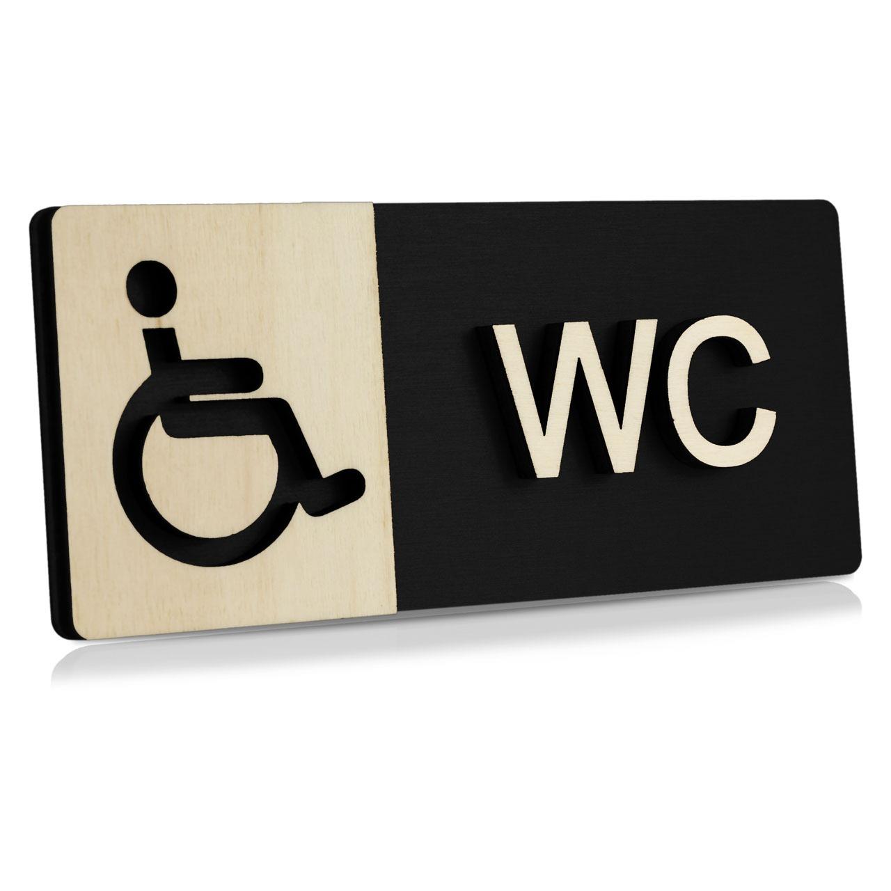 """Holz-Türschild (Schwarz) """"Behinderten-WC"""""""