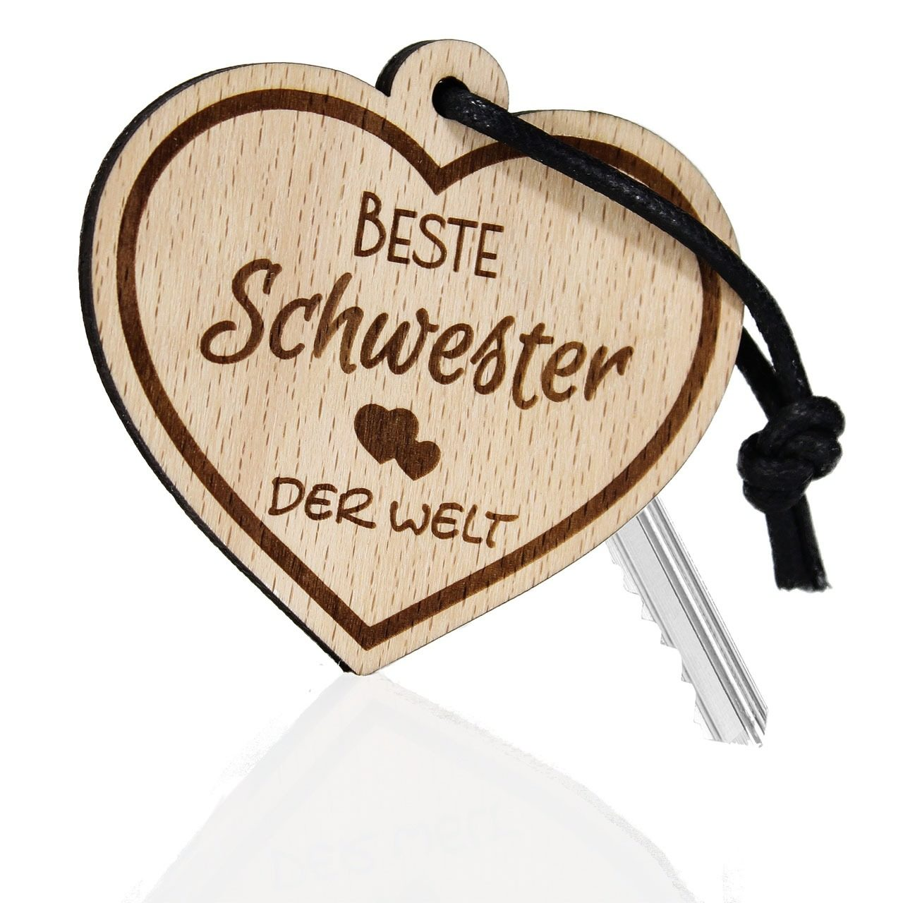 """Holz-Schlüsselanhänger """"Beste Schwester der Welt"""""""