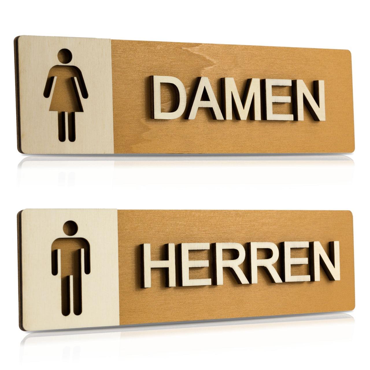 """Holz-Türschilder (Nussbaum hell) """"Damen und Herren"""""""