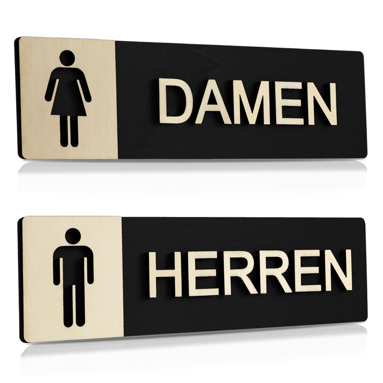 """Holz-Türschilder (Schwarz) """"Damen und Herren"""""""