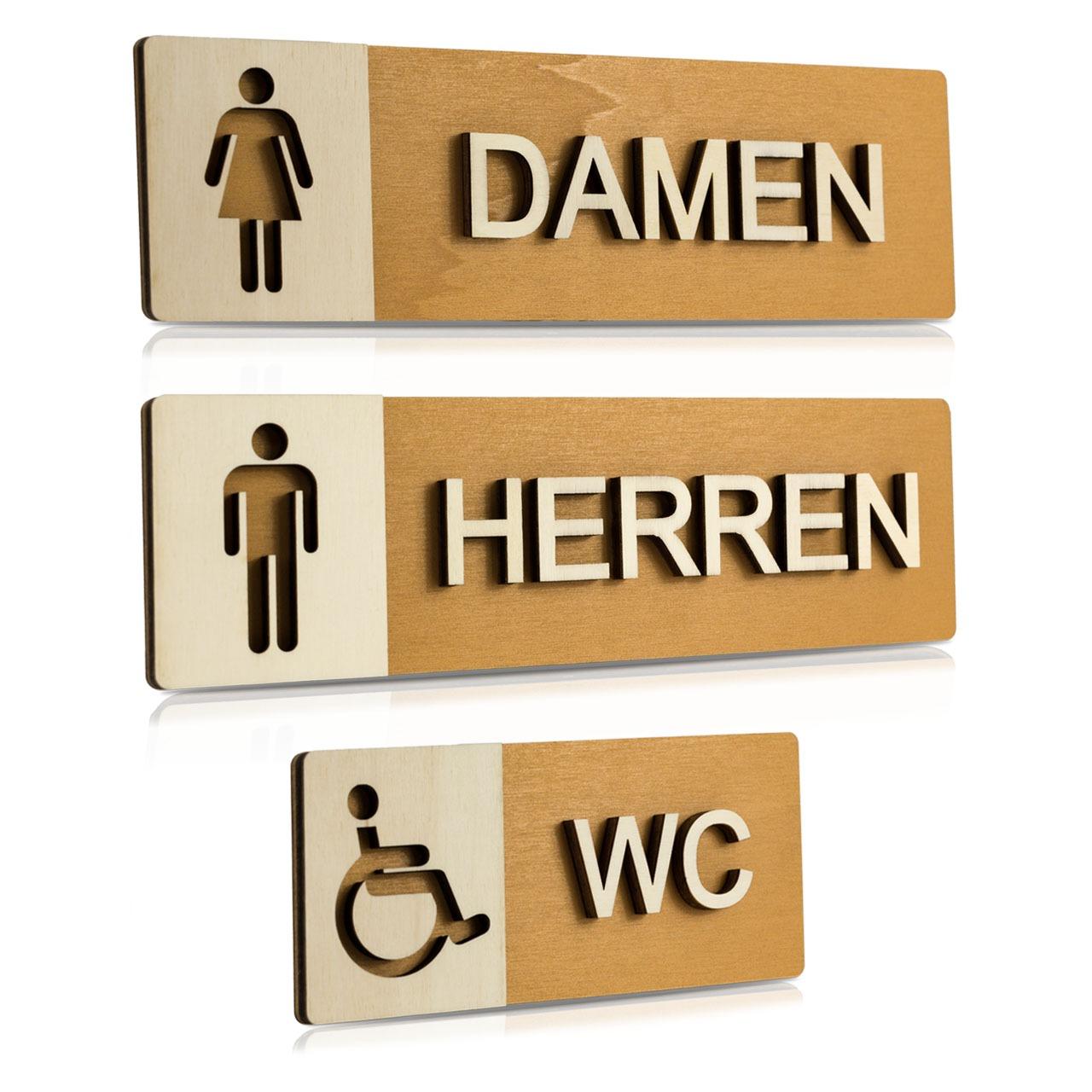 """Holz-Türschilder (Nussbaum hell) """"Damen, Herren und Behinderten-WC"""""""