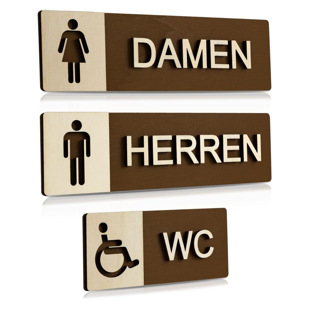"""Holz-Türschilder (Schokobraun) """"Damen, Herren und Behinderten-WC"""""""