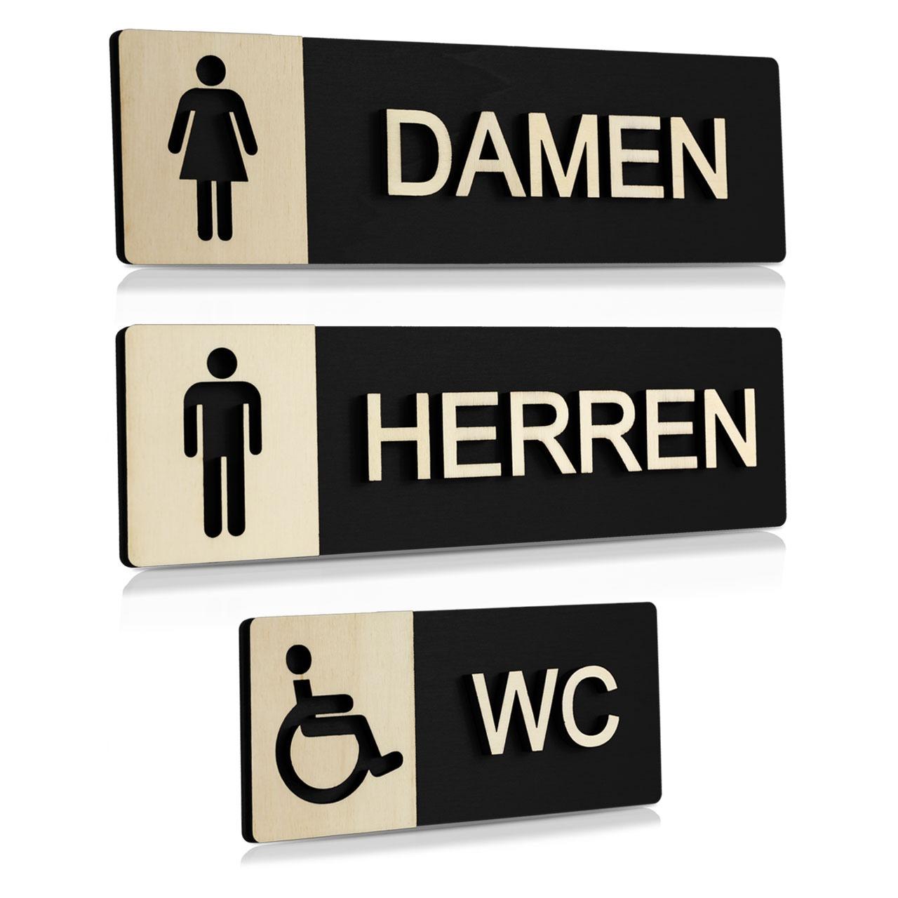 """Holz-Türschilder (Schwarz) """"Damen, Herren und Behinderten-WC"""""""