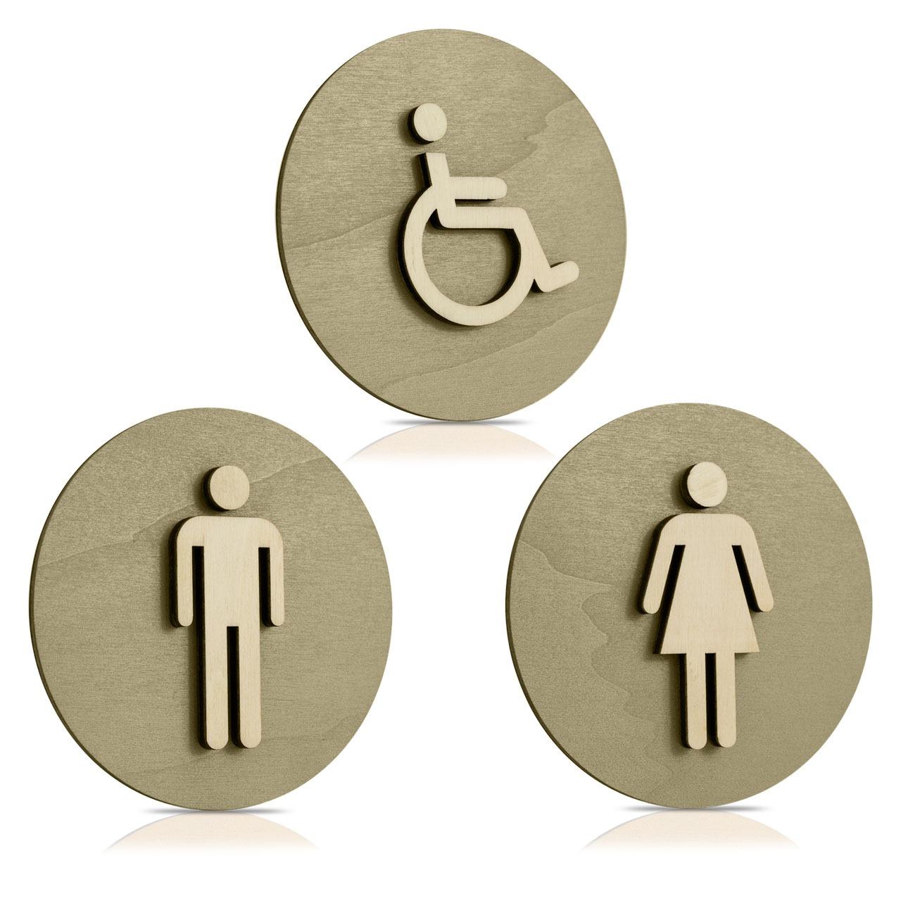 """Nussbaum-Türschilder (Moosgrau) """"Mann, Frau und Behinderten-WC"""""""