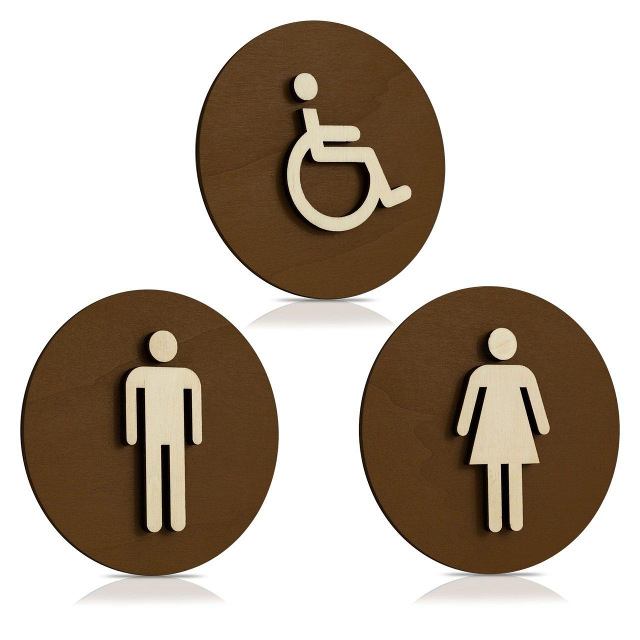 """Holz Türschilder (schokobraun) """"Mann, Frau und Behinderten-WC"""""""