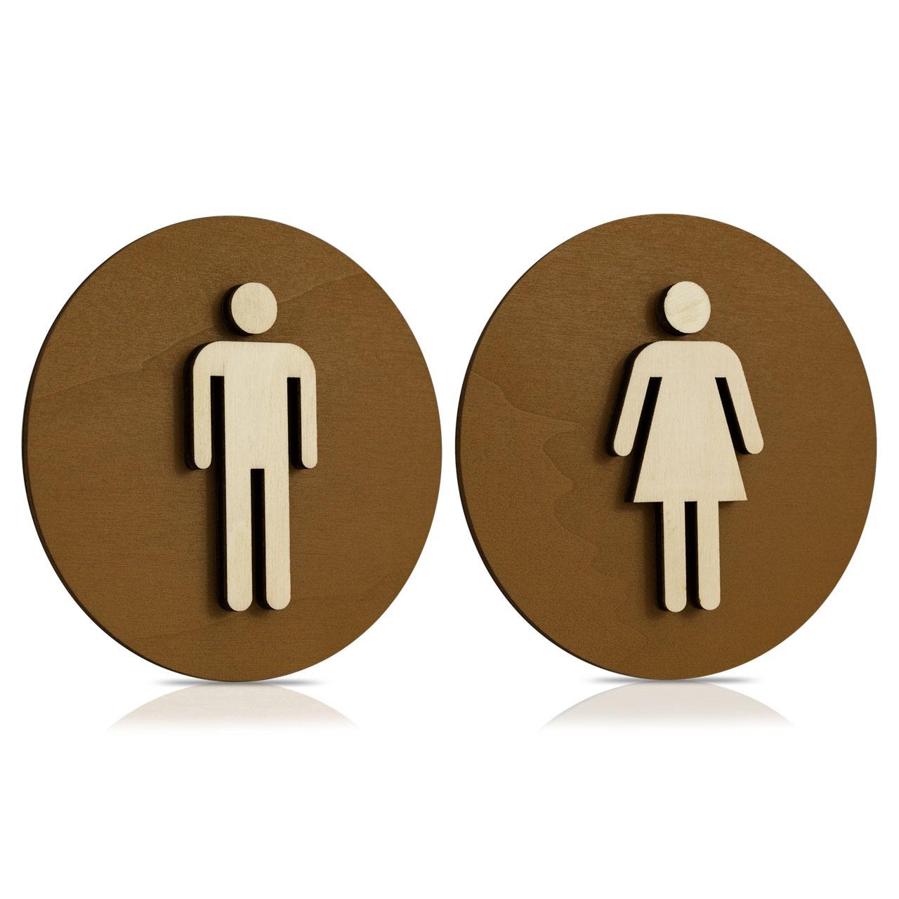 WC Schild Nussbaum dunkel Holz Toilettenschild Toilette Türschild Damen Herren